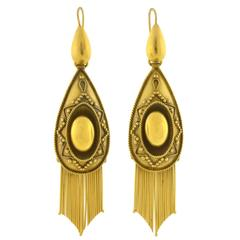 Victorian Dramatic Gold Etruscan Foxtail Fringe Earrings