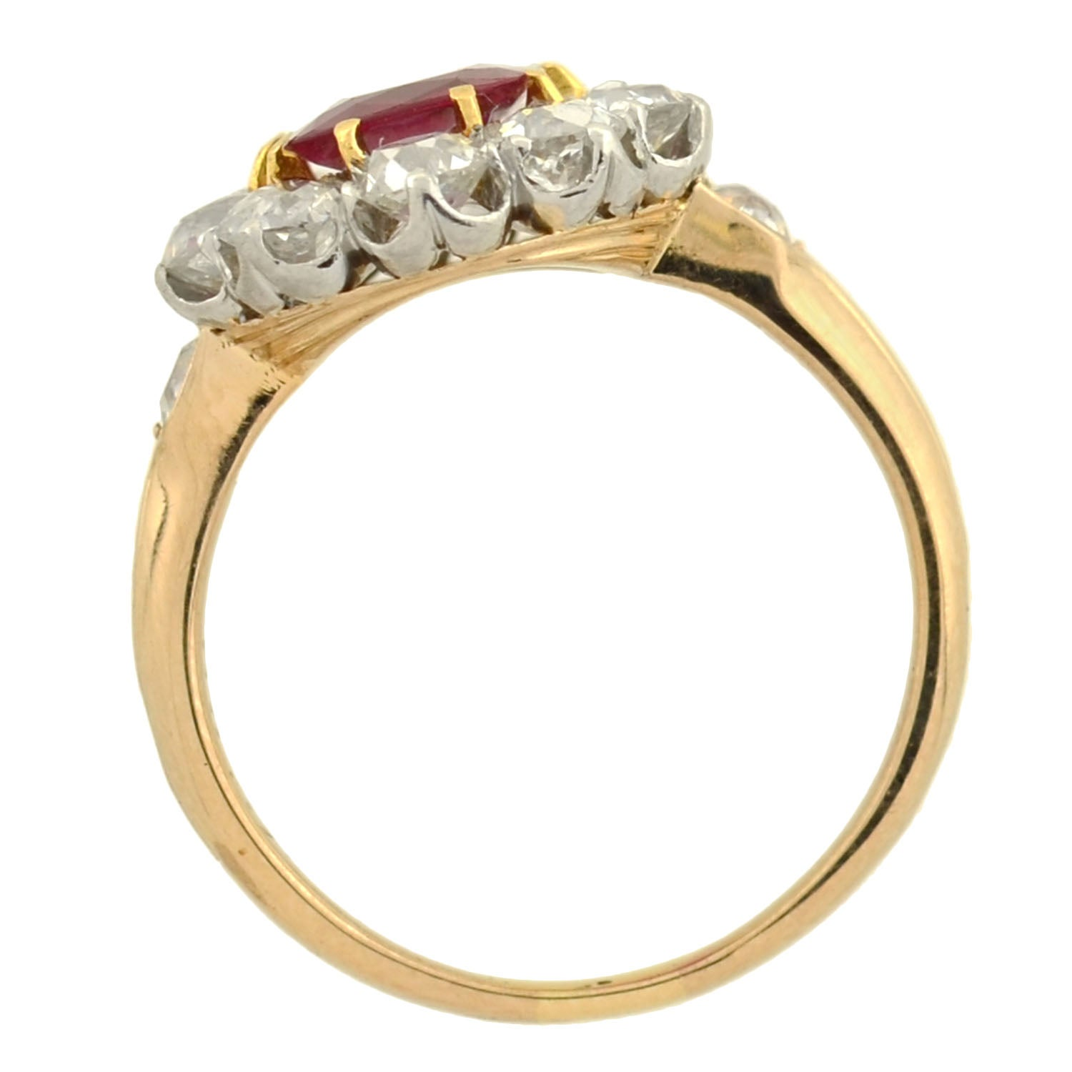 ring ruby london contemporary engagement halo finest natural rings jewellery handmade gold rose diamond product in the