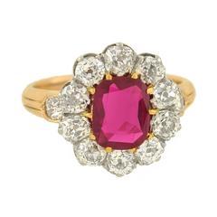 Edwardian 1.15 Carat Natural Untreated Burma Ruby Diamond Gold Platinum Ring