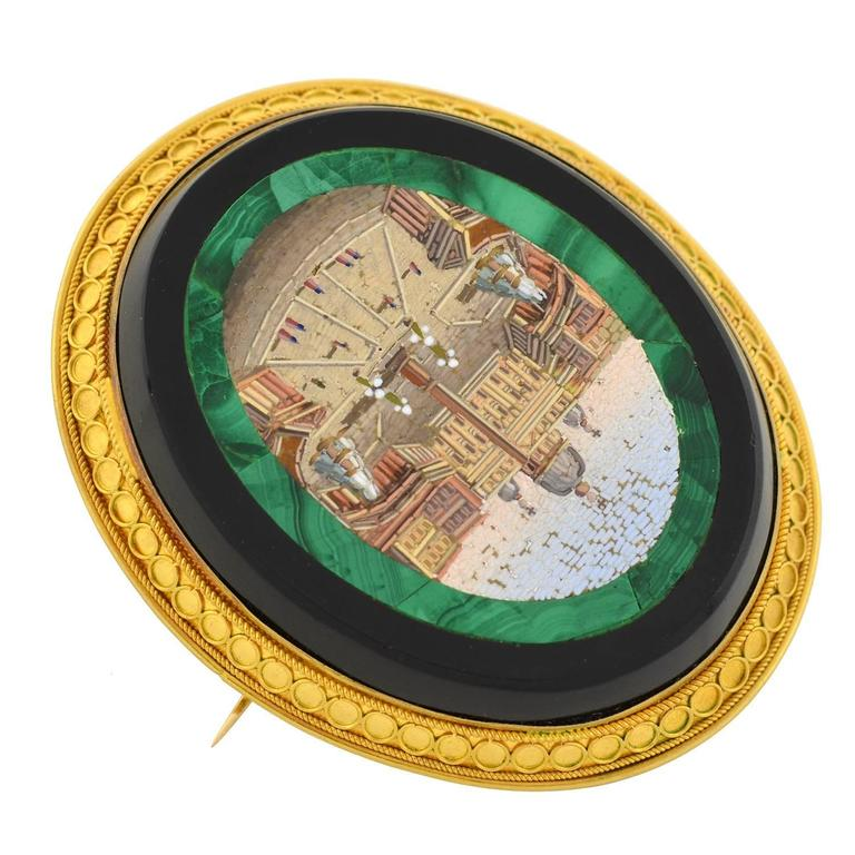 Victorian Impressive Vatican City Micro Mosaic Pin/Pendant In Excellent Condition For Sale In Narberth, PA