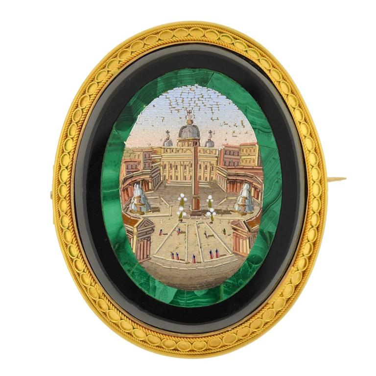 Victorian Impressive Vatican City Micro Mosaic Pin/Pendant For Sale
