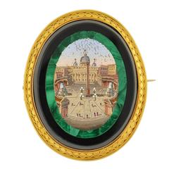 Victorian Impressive Vatican City Micro Mosaic Pin/Pendant