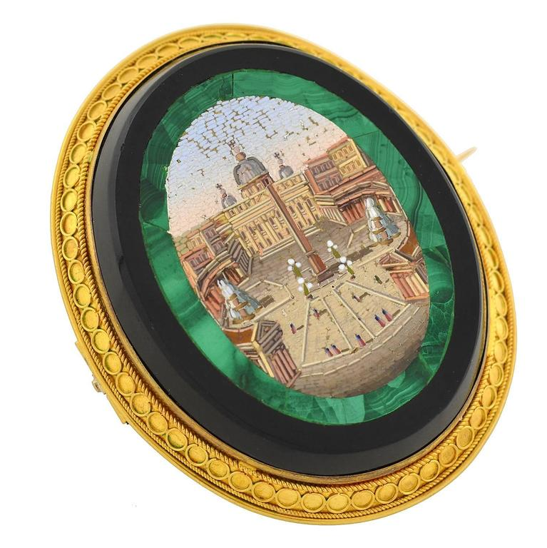 A magnificent micro mosaic pin and pendant from the Victorian (ca1880) era! This spectacular piece is quite substantial in size and equally impressive in design. Featured at the center is an intricately detailed image created entirely with micro