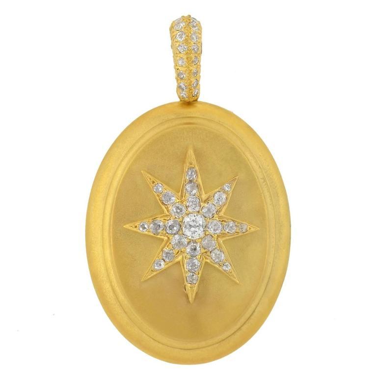 Victorian Raised Diamond Starburst Gold Locket 1.10ctw