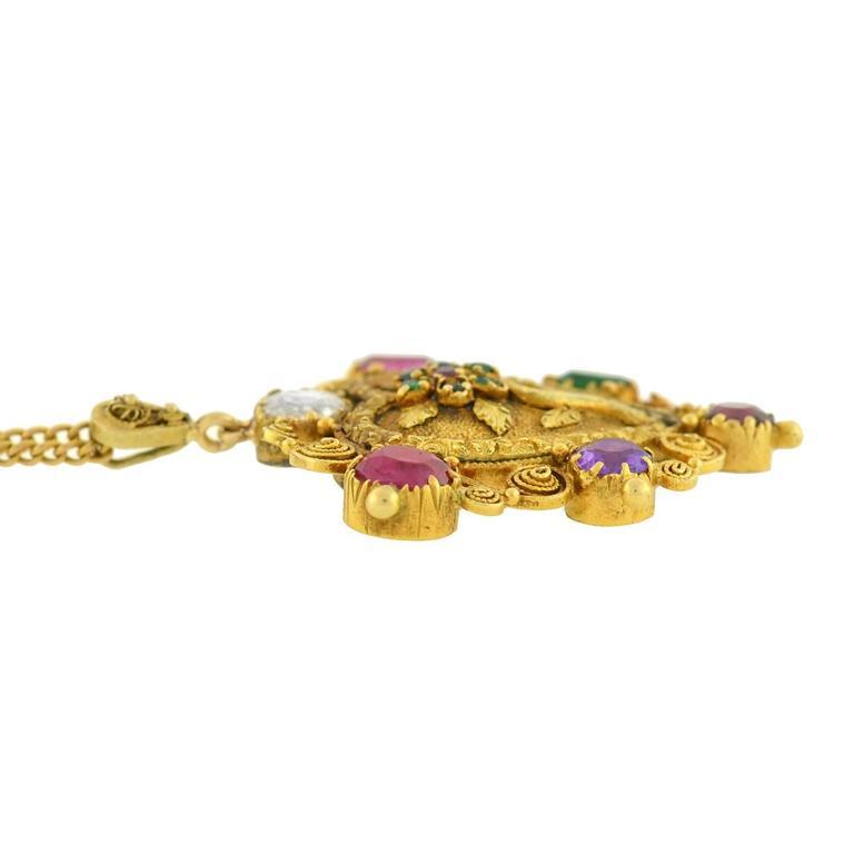 """Victorian """"REGARD"""" Gemstone Floral Heart Necklace 4"""