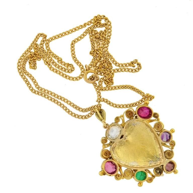 "Victorian ""REGARD"" Gemstone Floral Heart Necklace For Sale 1"