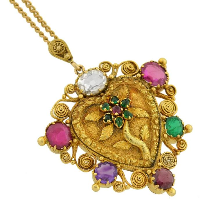 "Victorian ""REGARD"" Gemstone Floral Heart Necklace In Excellent Condition For Sale In Narberth, PA"