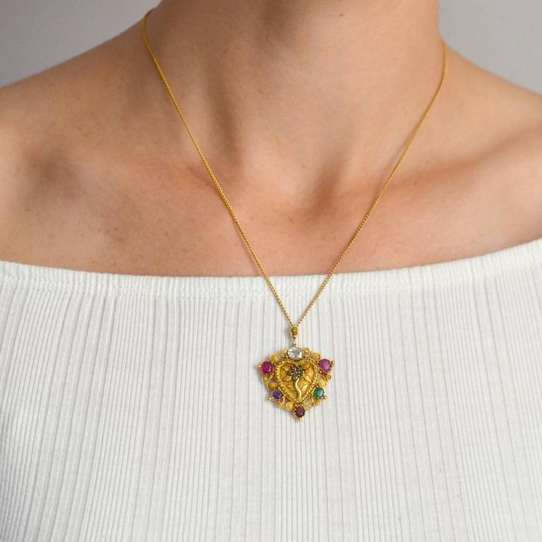 "Victorian ""REGARD"" Gemstone Floral Heart Necklace For Sale 2"