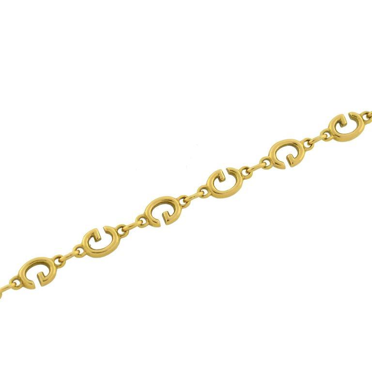 GUCCI Vintage Enameled 'G' Link Gold Bracelet 5