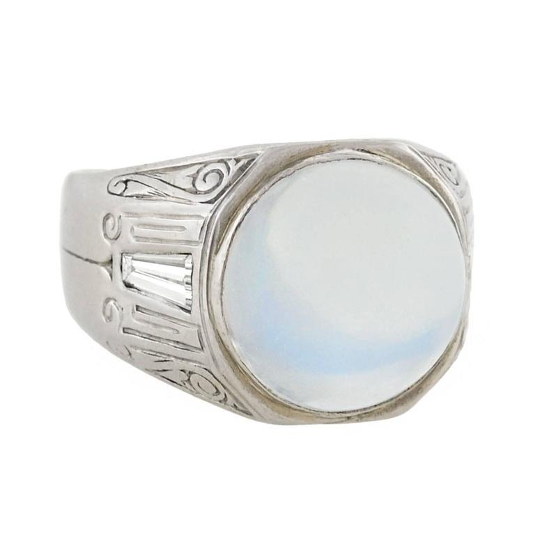 Art Deco Moonstone Diamond Wide Band Ring
