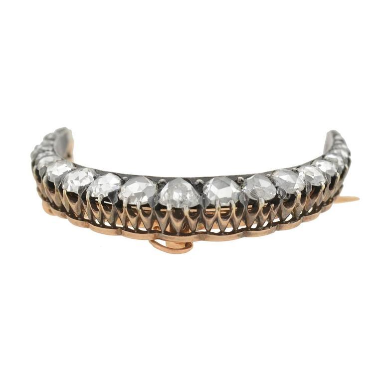 Women's or Men's Victorian 3 Carats Rose Cut Diamonds Crescent Pin Pendant  For Sale