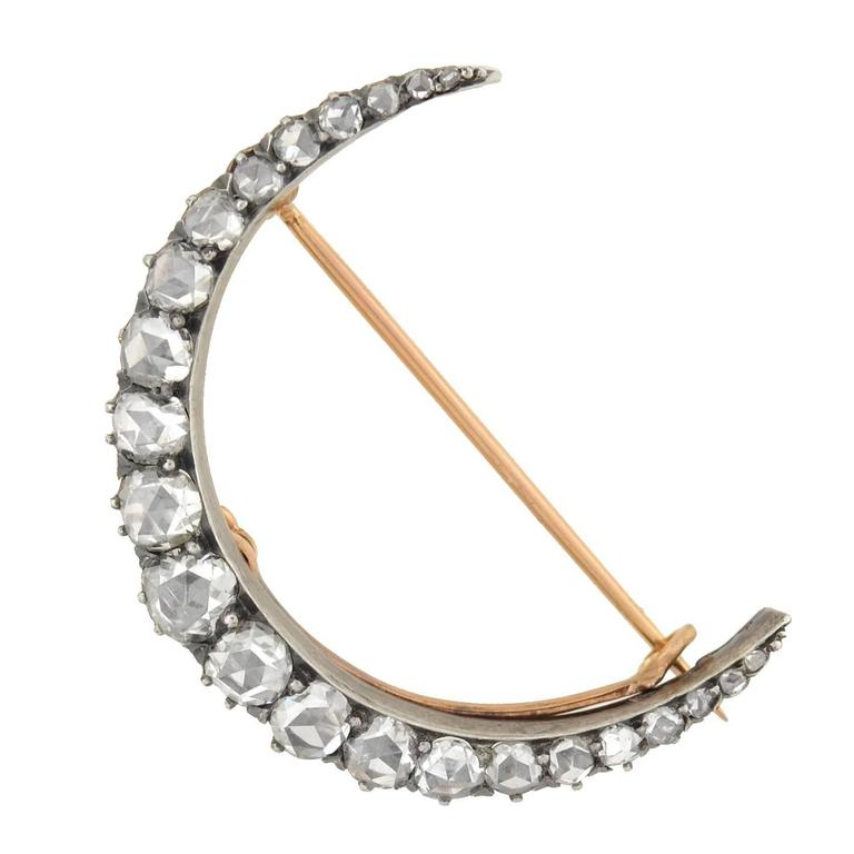 Victorian 3 Carats Rose Cut Diamonds Crescent Pin Pendant