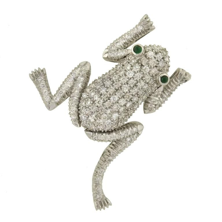 Emerald Pave Diamond Gold Frog Pin