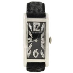 HAMILTON Art Deco Platinum Diamond Watch with Box