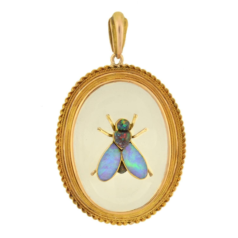 Victorian rock crystal black opal insect pendant at 1stdibs aloadofball Choice Image