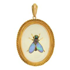 Victorian Rock Crystal Black Opal Insect Pendant