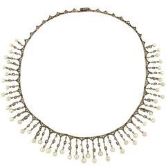 Victorian Rose Cut Diamond Natural Pearl Festoon Necklace