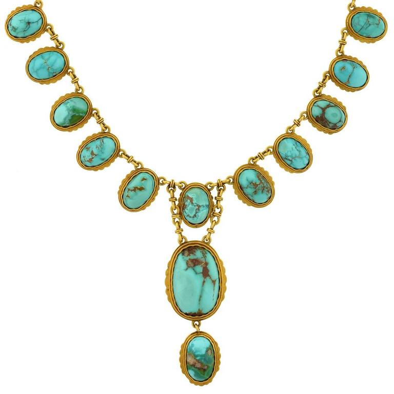 Victorian Natural Turquoise Drop Collar Necklace 1