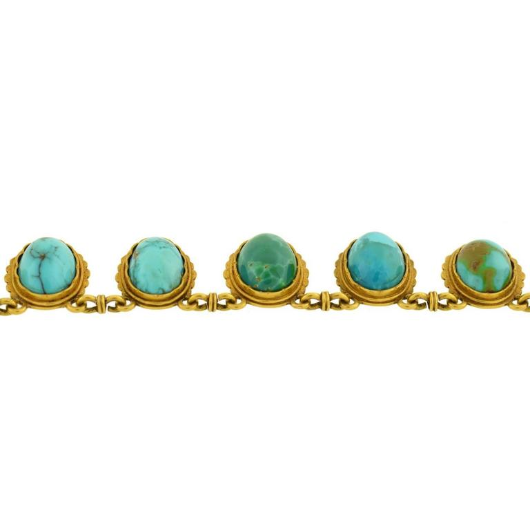 Victorian Natural Turquoise Drop Collar Necklace 6