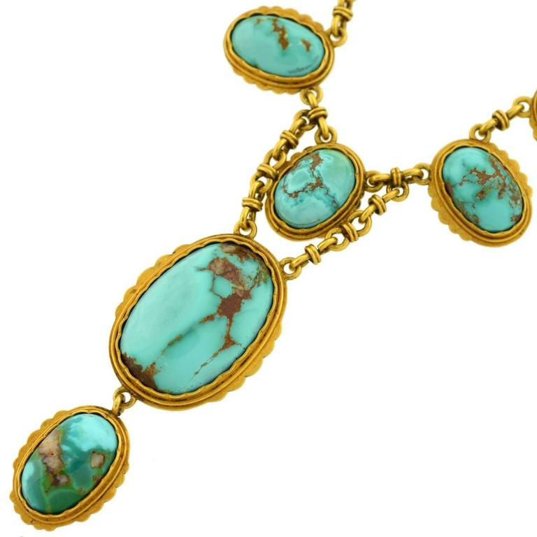 Victorian Natural Turquoise Drop Collar Necklace 3