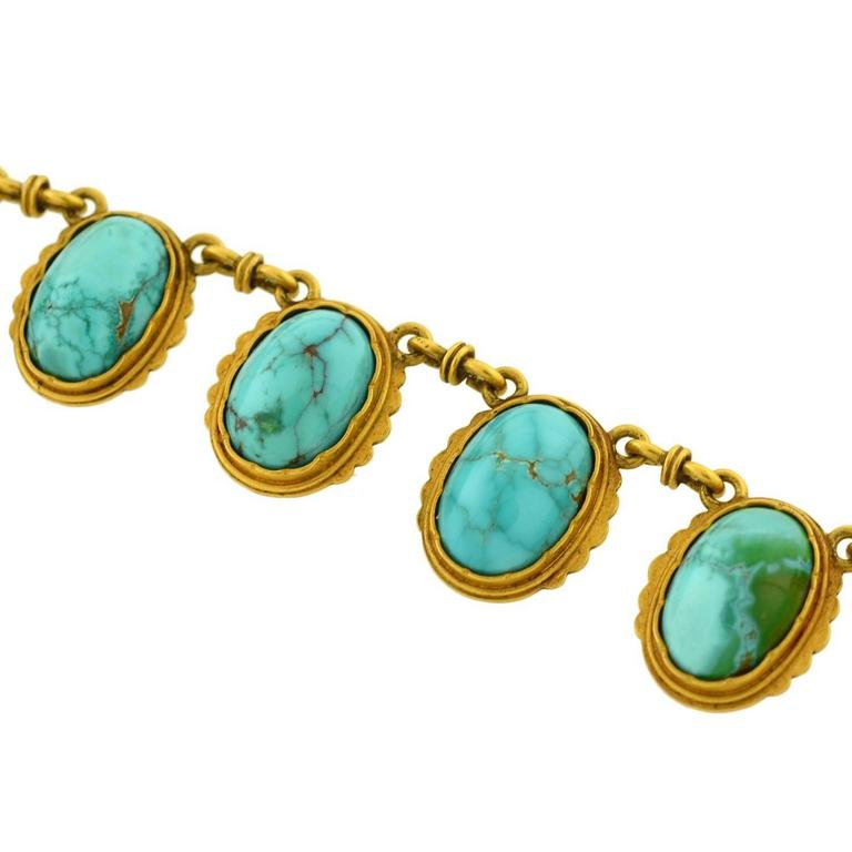 Victorian Natural Turquoise Drop Collar Necklace 5