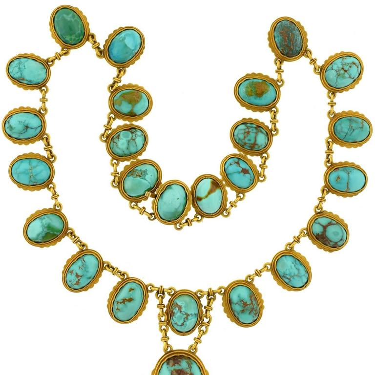 Victorian Natural Turquoise Drop Collar Necklace 4