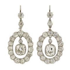 Edwardian Dramatic 6.20 carats Diamonds Platinum Earrings