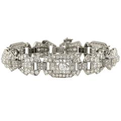 Art Deco Diamond Link Platinum Bracelet