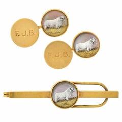 Antique Victorian Essex Crystal Gold Shorthorn Bull Cufflink Tie Clip Set