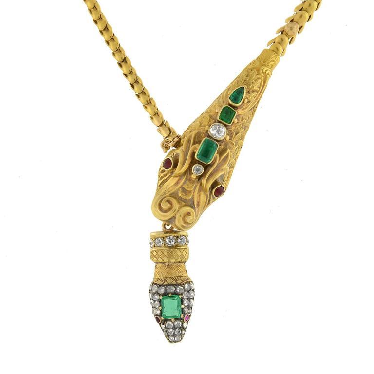 Victorian Multi Gemstone Dragon Snake Gold Necklace