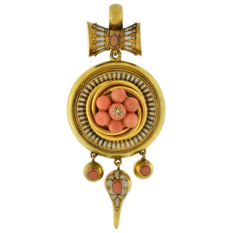 Victorian Coral, Diamond, Enameled Locket Pendant