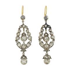 Victorian Dramatic 2.25 carats Diamonds Silver Earrings