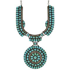 J.W. Vintage Navajo Turquoise Sun Wheel Sterling Necklace