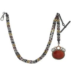 Victorian Shakudo Mixed Metals Watch Chain with Carnelian Fob