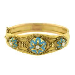 Victorian Etruscan Pearl, Enamel Starburst Motif Bracelet