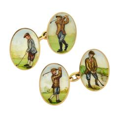 Victorian Enameled Painted Golf Motif Double Sided Cufflinks