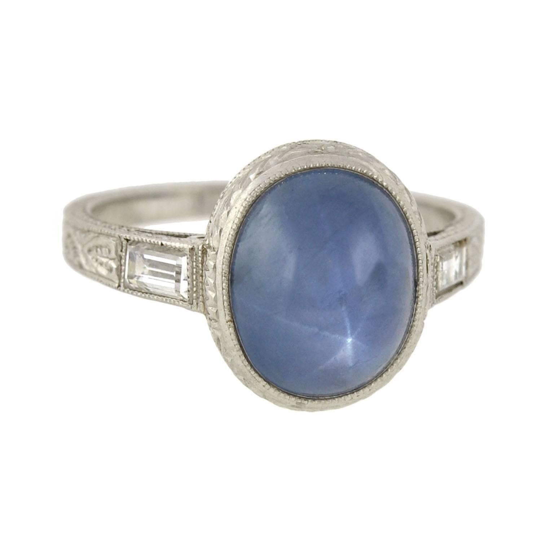 Art Deco 2.50 Carat Star Sapphire Diamond Ring