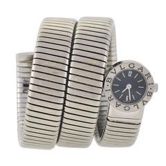 Bulgari Ladies Stainless Steel Serpenti Tubogas Bracelet Wristwatch