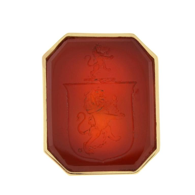 Victorian Carnelian Crest Gold Mounted Signet Ring 3