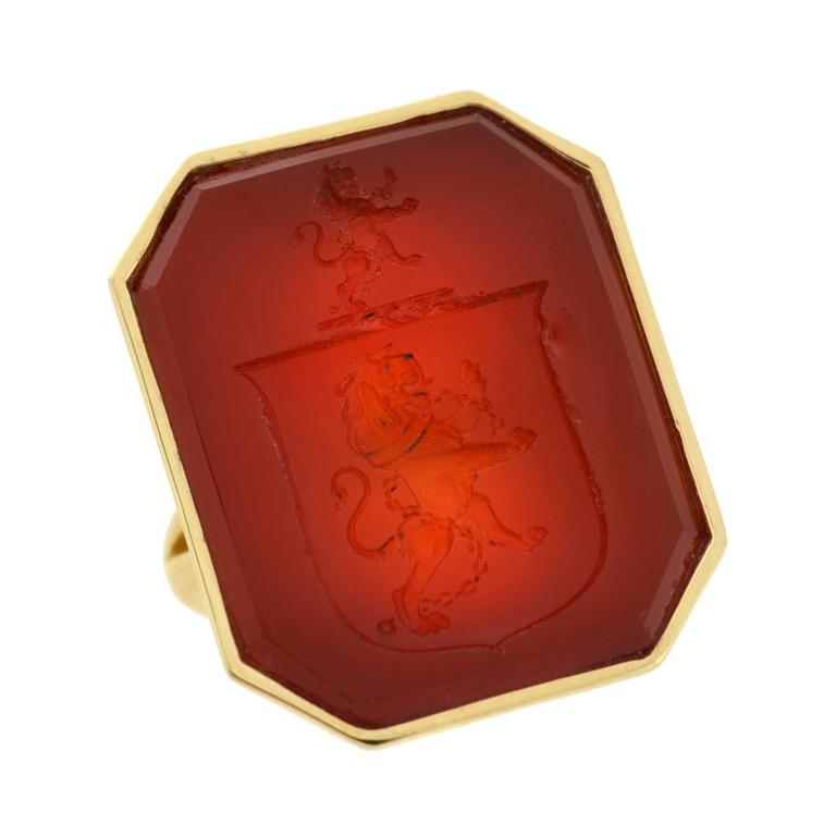 Victorian Carnelian Crest Gold Mounted Signet Ring 5