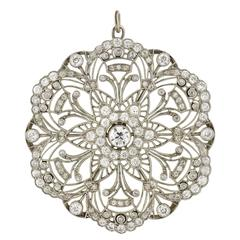 Edwardian Lacy Wirework Diamond Pendant 3.85 Carat