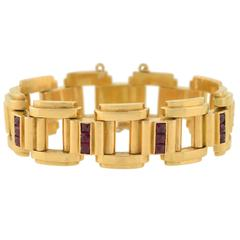 Retro French  Ruby Tire Track Link Gold Bracelet