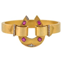 Victorian Natural Ruby Diamond Gold Horseshoe Bracelet