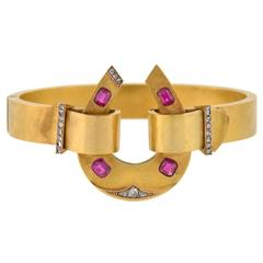 Antique Victorian Natural Ruby Diamond Gold Horseshoe Bracelet