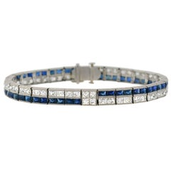 Art Deco French Cut Diamond Sapphire Line Bracelet