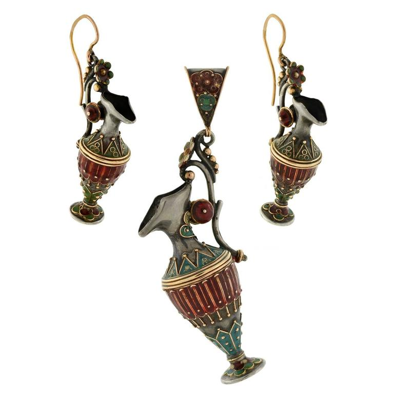 Victorian Enameled Etruscan Urn Earrings, Pendant Set