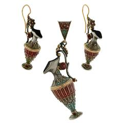 Victorian Enameled Etruscan Urn Earrings, Pendant Set