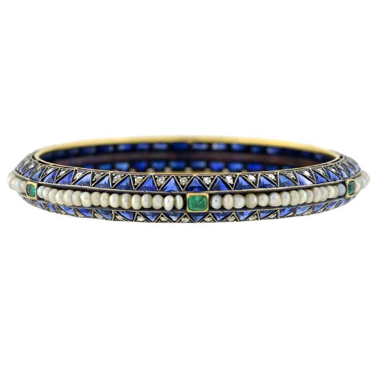 Edwardian Sapphire, Emerald Pearl, Diamond Bangle Bracelet