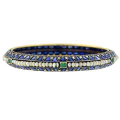 Edwardian Sapphire, Emerald Pearl, Diamond Bangle Bracelet