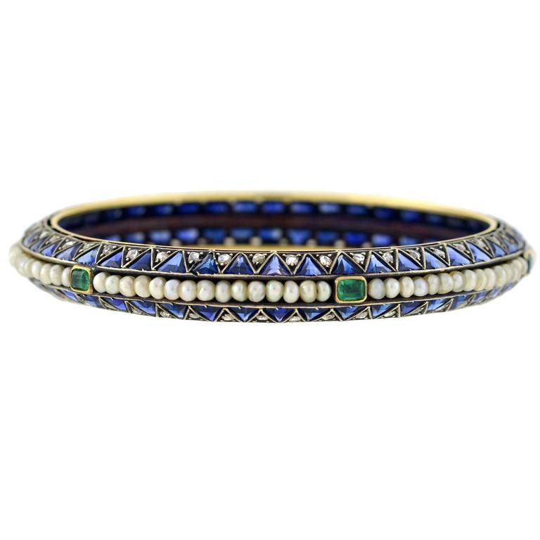 diamond bangle boylerpf edwardian bangles and products sapphire gold antique bracelet